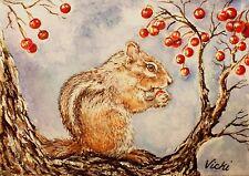 Eastern Chipmunk, Wildlife, Woods, Tree, Berries, Nature,  ACEO  by Vicki