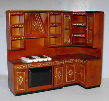 HANSSON DELUXE EDITION 3 PC KITCHEN HAND PAINTED DOLLHOUSE FURNITURE MINIATURES