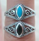 NEW 925 STERLING SILVER Marquise Black Onyx & Turquoise Filigree ring L N P R T