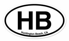 "HB Huntington Beach CA Oval car window bumper sticker decal 5"" x 3"""