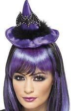 Viola Lunga Strega Pipistrello Halloween Cappello Su Fascia Costume P6428