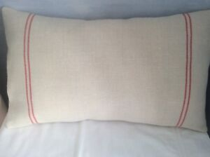 Peony and Sage Cushion Cover in Grainsack Red Stripe Linen Fabric