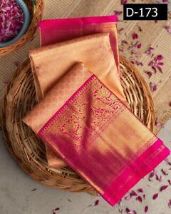 Indian Stylish Pink Sari Wedding pakistani Bollywood Lichi Cotton Silk Saree