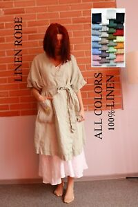 wrap linen robe, LINEN ROBE WOMEN, green linen dress, white linen dress