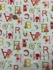 100% Cotton Quilting Craft Fabric Lecien Japan childrens Red Pink ABC Cream