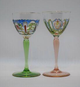 Pair of Theresienthal Meyr's Neff Enamel Wine Glasses, Art Nouveau, Circa 1920