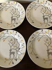 """Pottery Barn Luxe Caribou Plates 9"""" Salad Luncheon Appetizer Metallic Stag Set 4"""