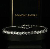 Luxus Damen Armband 19,5cm x 4mm Zirkonia weiß 750er Weißgold vergoldet B1578