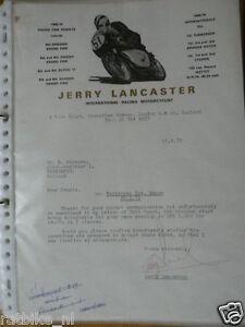 HT001-ORIGINAL AUTOGRAPH JERRY LANCASTER RACING MOTORCYCLIST,SIGNATURE,AUTOGRAMM