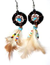 Indianer Ohrringe SCHWARZ Dreamcatcher 25 mm Federn Traumfänger Stein Ohrschmuck
