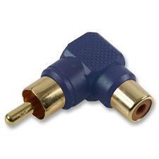 RCA Phono Right Angle 90 Degree Plug Socket Gold Adaptor Converter - Blue