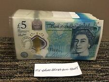 ONE SINGLE Polymer Brand New £5 Note Random Serial Number 2016 Fantastic Cond.