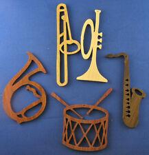 Musical Instrument Ornaments - Set of 5 - hand cut