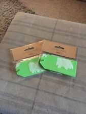 BRAND NEW STILL SEALED TWO PACKS TESCO GIFT TIE TAG FIVE PACK NEON GREEN 11x5cm