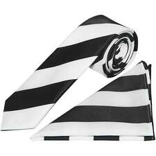 Handmade Black and White Striped Skinny Men's Football Tie and Handkerchief Set