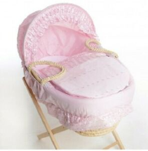 Isabella Alicia Pink Broderie Anglaise Moses Basket Dressing, Covers Set With Ho