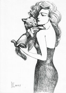 original drawing A4 278YL art samovar modern ink woman with cat Signed