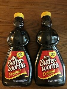 Two Mrs Butter-Worths Original Pancake Waffle Syrup 24 oz Bottle Factory Sealed