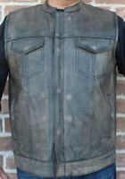 Mens Motorcycle Distressed Brown Leather Club Vest Concealed Carry Pockets