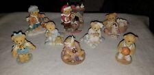 Lot of 8 Priscilla Hillman Cherished Teddies Decorative Ceramic Figurines