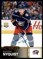 2019-20 UD Overtime Wave 2 Base Auto Gold #85 Gustav Nyquist - Blue Jackets