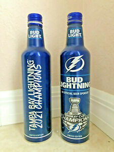 2021 Bud Light Tampa Bay Lightning STANLEY CUP Champions 2 EMPTY Bottles and cap