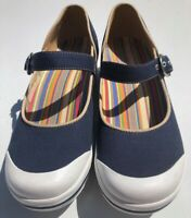 Dansko Size 38 #6606540100 Womens Valerie Navy Blue Canvas Mary Jane Shoes