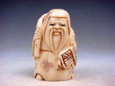 Japanese Detailed Hand Carved Netsuke Sculpture Old Man Bag Fan #07221804