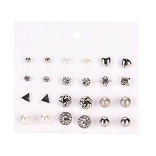 12 Pairs Women Pearl Crystal Heart Stud Triangle Earring Set Jewelry New fo