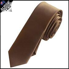 Mens Chocolate Coffee Brown Plain SKINNY Necktie Men's Tie