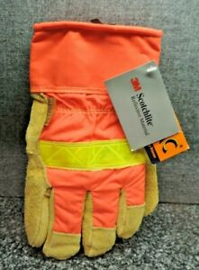 Men's Primax Heatrac Leather Insulated 3M Scotchlite Gloves Size Medium