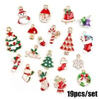 19Pcs Metal Christmas Hanging Ornaments DIY Pendants Tree Xmas Home Decor UK