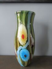 Large Murano? Hand Blown Art Glass Floral Multi-Colored Overlay Vase 15""
