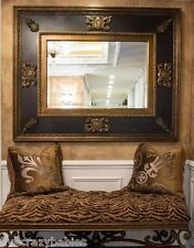 Ornate BAROQUE Black Gold Wall Mirror OVERSIZE Neiman Marcus Thick Frame Antique