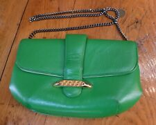 Vintage Crown Lewis Handbag Purse Kelly Green Gold Buckle Long Chain Strap