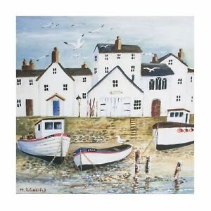Art for the Home Harbourside seascape Printed Canvas