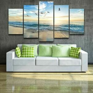 Seagull Beach Sunset Seascape 5 Piece Canvas Wall Art Poster Print Home Decor