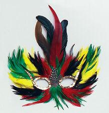 Tropical Coloured Feather Eye Mask Masquerade Ball Peacock Fancy Dress