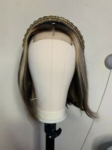 """Ombre Blonde Human hair wig 4x4 lace closure wig 12""""Short bob straight Daily use"""