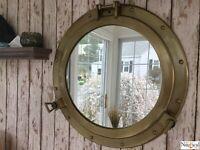 "20"" Porthole Mirror ~ Antique Brass Finish ~ Large Nautical Cabin Wall Decor"
