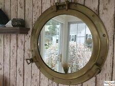 "20"" Porthole Mirror ~ Antique Brass Finish ~ Large Nautical Cabin Wall Decor"