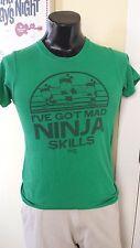 "Fruit Ninja Video Game ""I've Got Mad Ninja Skills"" Logo Green T-Shirt Small Rare"