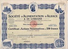 Société d'Alimentation d'Alsace & de Lorraine-Action 250 Francs-1946-Strasbourg