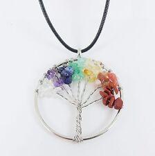 TREE OF LIFE GEMSTONE NECKLACE pagan wicca healing chakras quartz amethyst witch