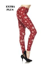 Extra Plus Christmas Snowflakes Brushed Ankle Leggings