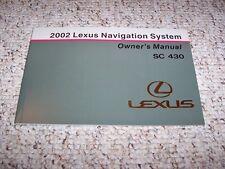 2002 Lexus SC430 SC 430 Navigation System Owner User Manual Guide Book