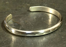 sterling silver cuff bracelet with hand stamped pattern