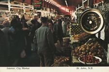 City Market St. John New Brunswick NB Interior Vegetables c1983 Postcard D9