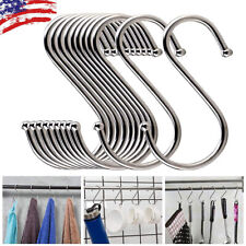 20Pcs S Shaped Hooks Stainless Steel Closet Hanging Kitchen Pot Pan Cloth Hanger