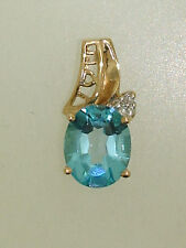 "U"" Approx. 3+ Ctw Blue Topaz Pendant! Beautiful 10K Solid Gold ""I (Heart) Love"